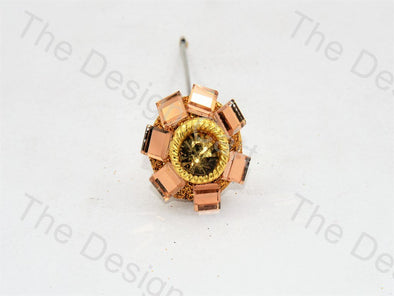 7 Square Glass Golden Handcrafted Buttons