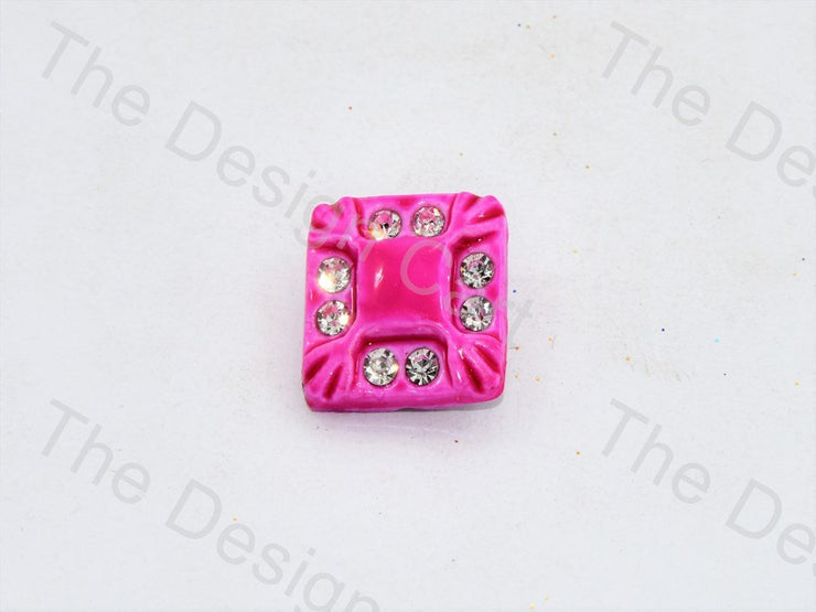 Rose Pink Stone Crystal Square Button (444324544546)