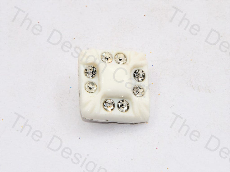 White Stone Crystal Square Button (444324806690)