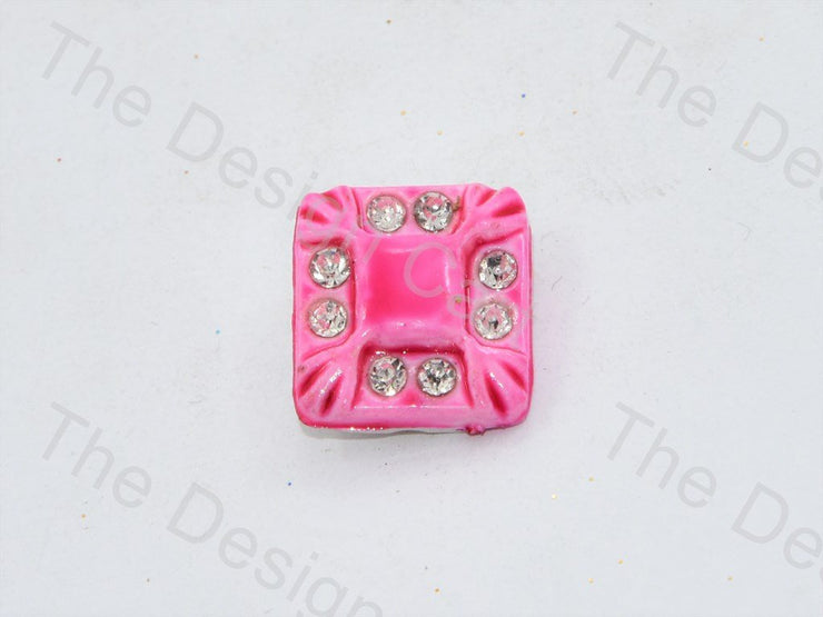 Pink Stone Crystal Square Button (444324872226)