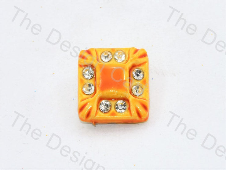 Yellow Stone Crystal Square Button (444325068834)