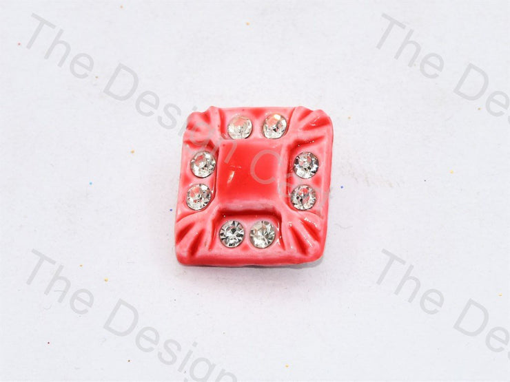 Dull Red Stone Crystal Square Button