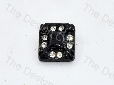 Black Stone Crystal Square Button