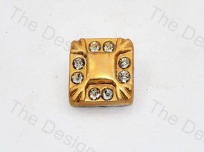 Golden Stone Crystal Square Button
