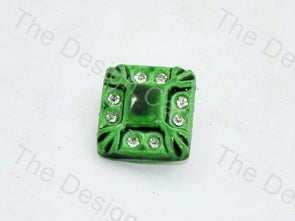 Light Green Stone Crystal Square Button