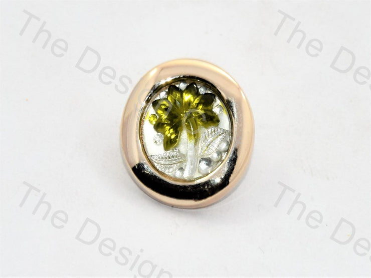 Olive / Peridot Green Palm Tree Round Crystal Buttons (444325625890)