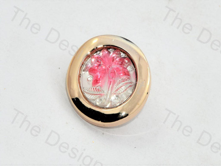 Light Pink Palm Tree Round Crystal Buttons