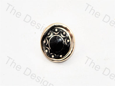 Black Golden Sunflower UV Acrylic Buttons