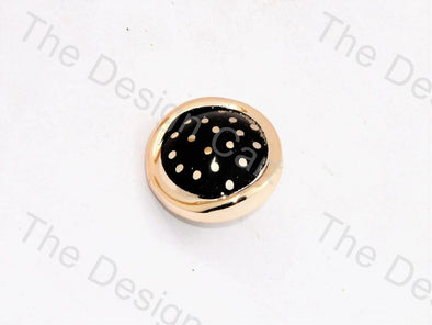 Black Golden Dots UV Acrylic Buttons