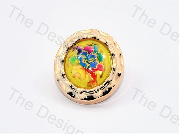 Yellow Multicolour Rose Golden Border Buttons (445695819810)