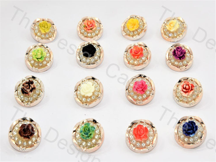 Rose and Stone Designer Buttons (445696409634)
