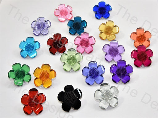 Flower Cutting Crystal Buttons