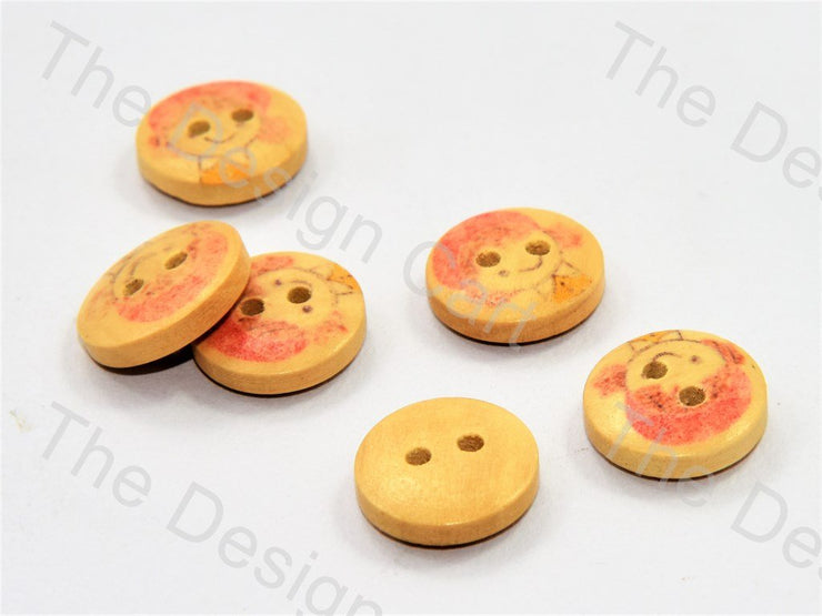 Girl Printed Yellow Wooden Buttons (446043717666)