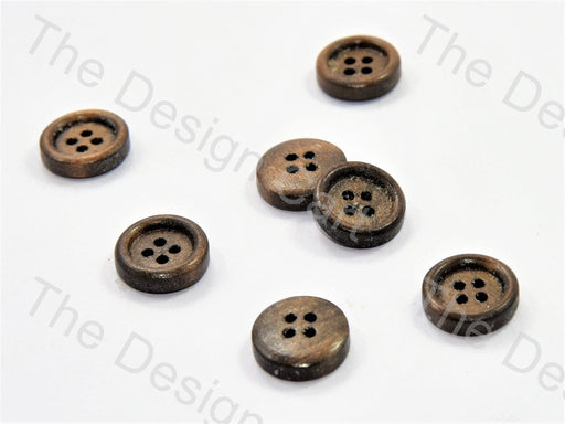 Inward Flat Brown Wooden Buttons