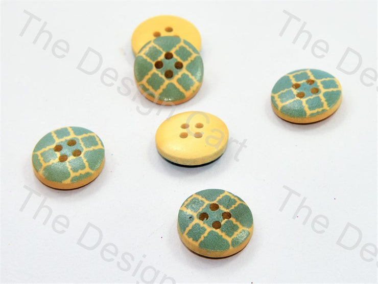 Green Pattern Print Yellow Wooden Buttons