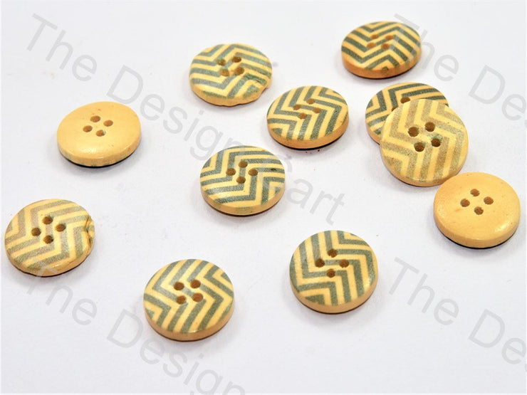 Gray Zigzag Print Yellow Wooden Buttons (446454792226)