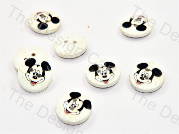 Micky Mouse Print White Wooden Buttons