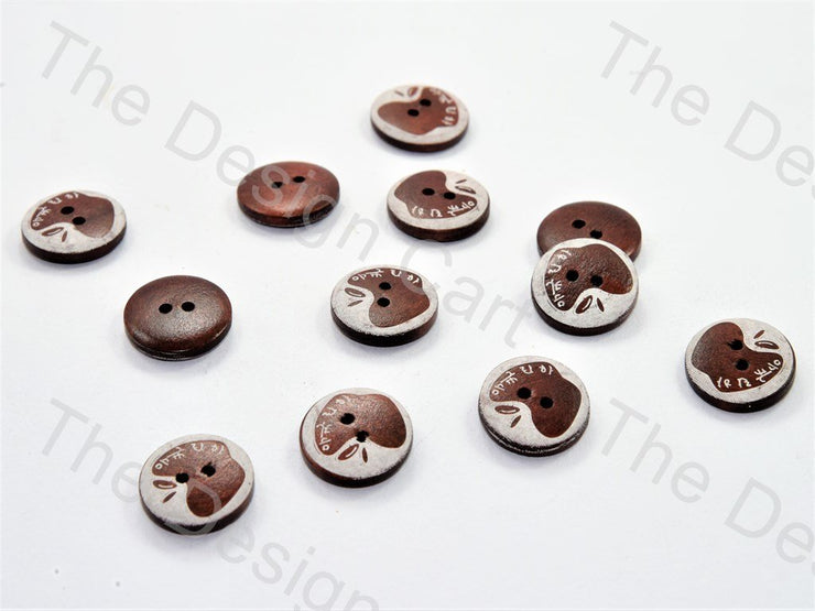 White Brown Apple Print Brown Wooden Buttons (447481053218)