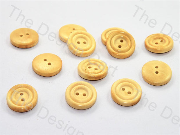 Concentric Waves Design Yellow Wooden Buttons