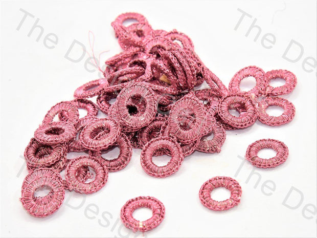Pink Small Round Crochet Thread Rings
