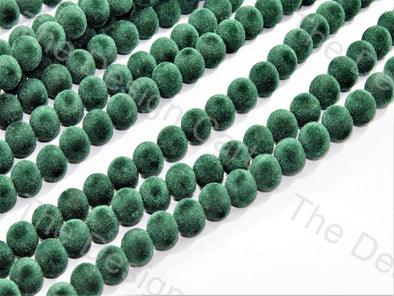 Dark Green Spherical Velvet Beads