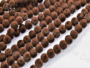Maroon Spherical Velvet Beads
