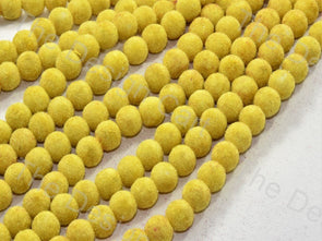 Yellow Spherical Velvet Beads