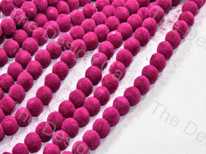 Pink Spherical Velvet Beads