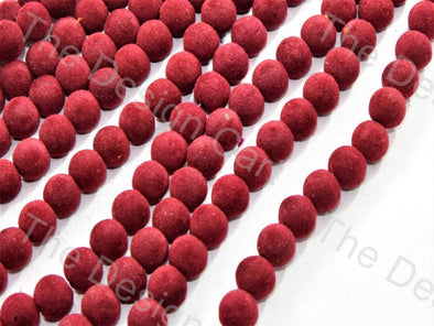 Dark Red Spherical Velvet Beads