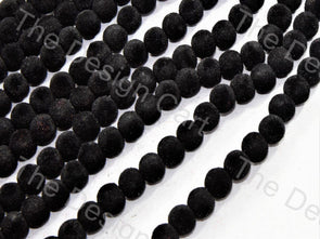 Black Spherical Velvet Beads