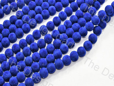 Blue Spherical Velvet Beads