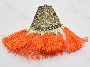 Orange Metal Tassels Design