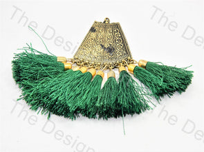 Green Metal Tassels Design