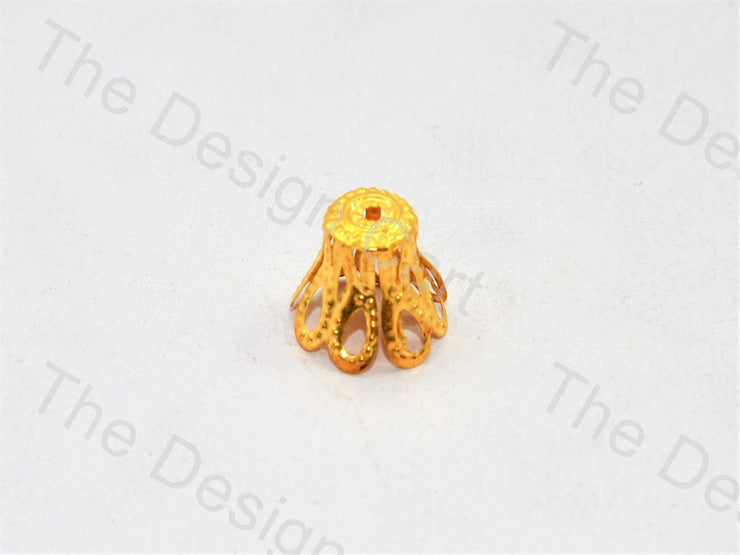 Cylindrical Flower Golden Bead Caps (553014951970)