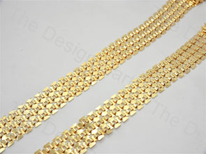 3 Row Belt Design Golden Metal Chain