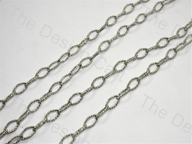 Ellipse Cut Design Silver Metal Chain