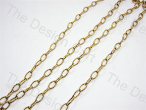 Ellipse Cut Design Golden Metal Chain