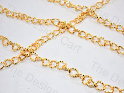 Spiral Round Design Golden Metal Chain