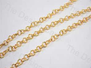 Round Cut Design Golden Metal Chain