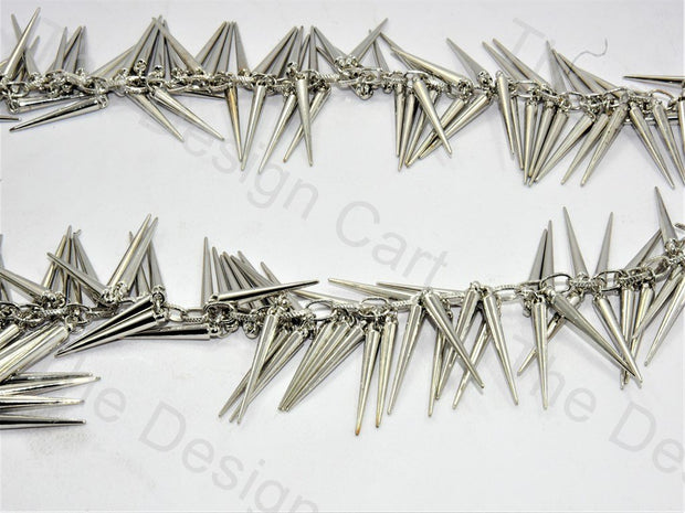 Spikes Design Silver Metal Chain