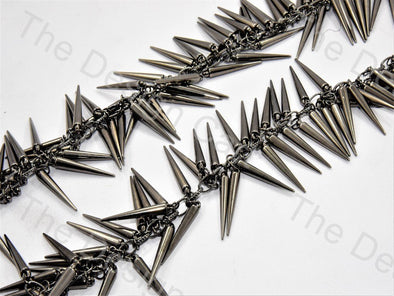 Spikes Design Gray Metal Chain