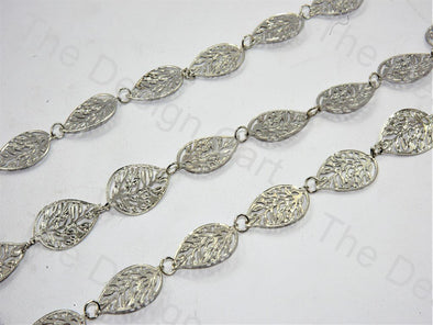 Leaf Design Silver Metal Chain