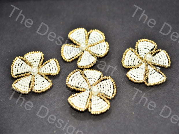 White Gold Beads Flower