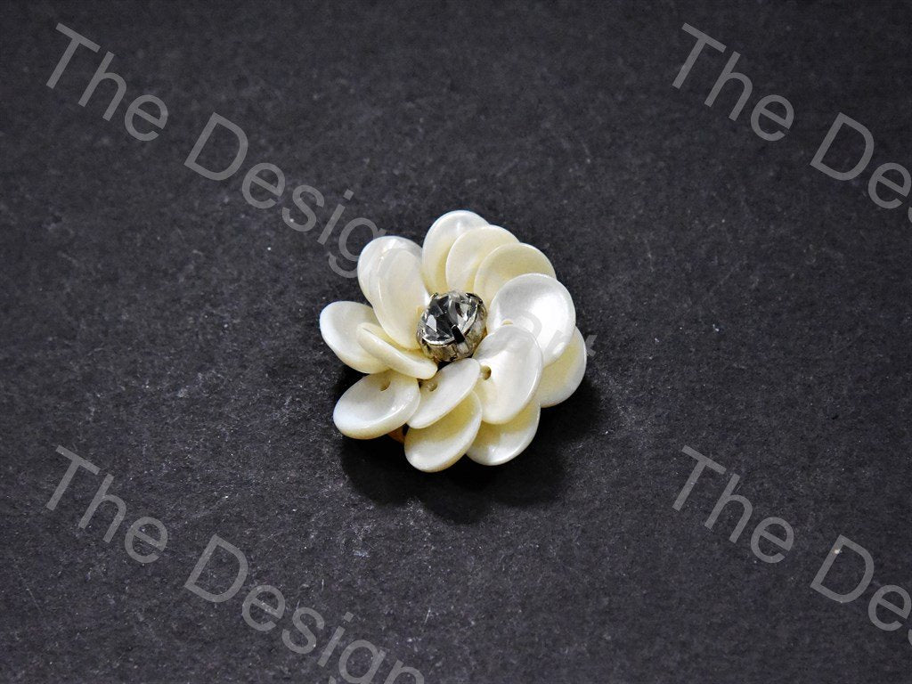 Acrylic Off White Flower Shaped Motif