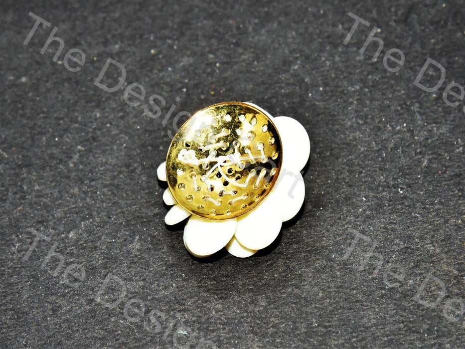 Acrylic Off White Flower Shaped Brooch - The Design Cart