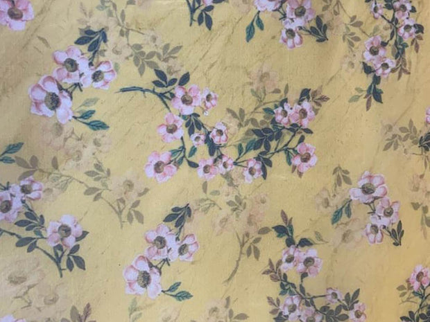 Dark Beige Pink Flowers Printed Organza Fabric