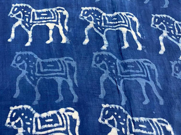 Dark Blue Horses Kalamkari Printed Cotton Fabric