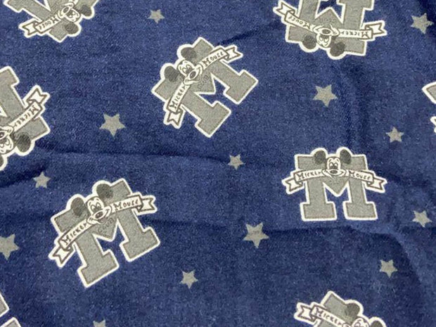 Dark Blue Mickey Mouse Stars Printed Flannel Cotton Fabric