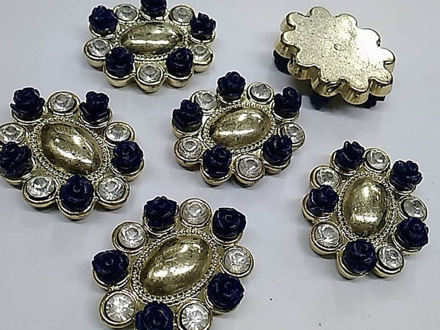 Dark Blue Oval Flower Plastic Stone with Resin Flowers and Glass Stones- 40x32 mm