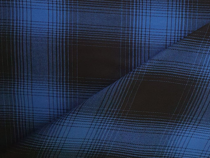 Dark Blue Black Spectrum Checks Yarn Dyed Cotton Twill Check (4545300758597)